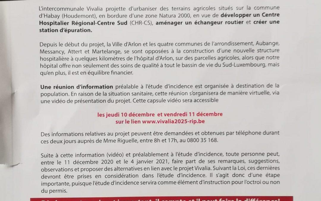 Nouvel Hôpital sur le site de Houdemont-RIP (Réunion d'Information Préalable) Vivalia c'est parti !